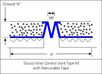 Stucco Vinyl Control Joint Type M with Removable Tape Detail