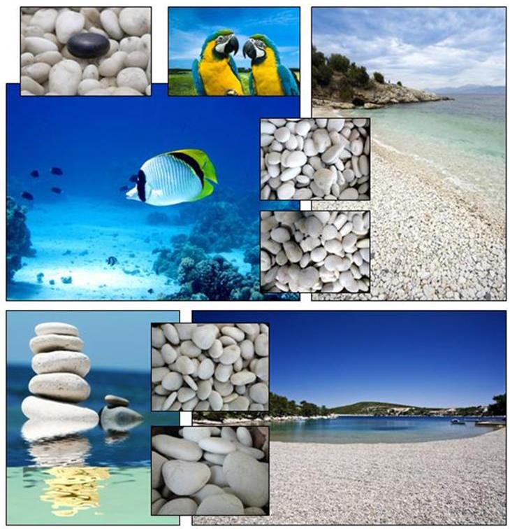 White mayan beach pebble white pebbles carroll 39 s for Beach house construction materials