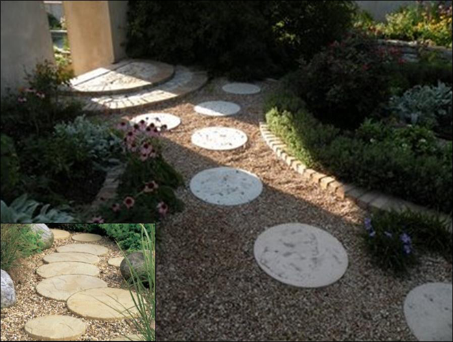 Round patio stones and moon stone carroll 39 s building for How to build a river rock patio
