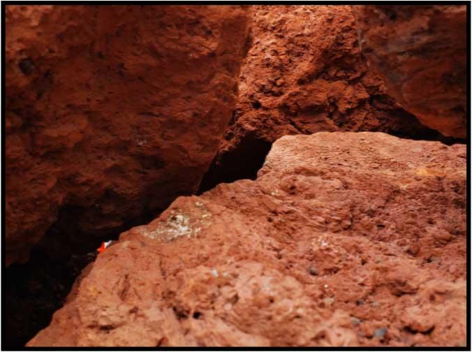 Red Lava Rock Boulders close up